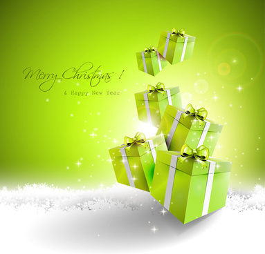 green style christmas and new year vector background