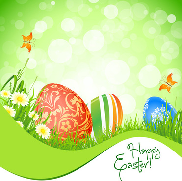 green style easter design elements vector