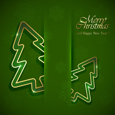 green style xmas card vector