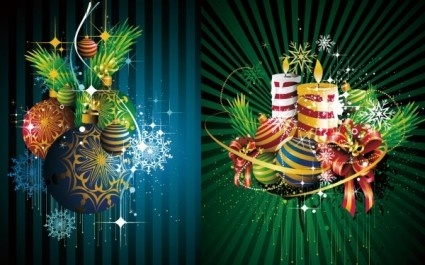 Green styles christmas ornaments background vector