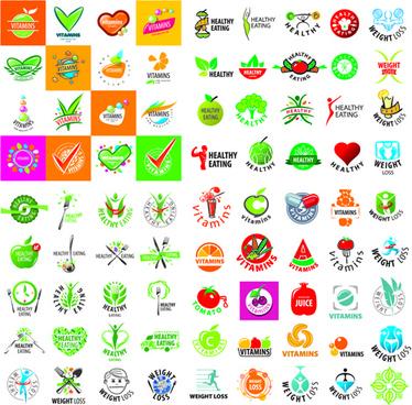 green styles healthy logos vectors set