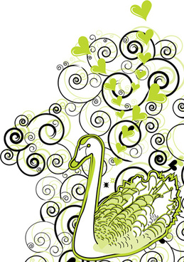 green swan with floral vector