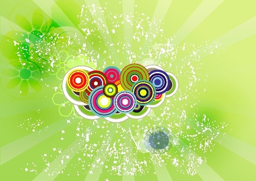 abstract rays background colorful circles and water decoration