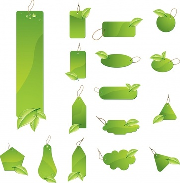 eco tags templates green multishapes design leaf ornament