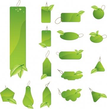 eco tags templates green multishapes design leaf ornament