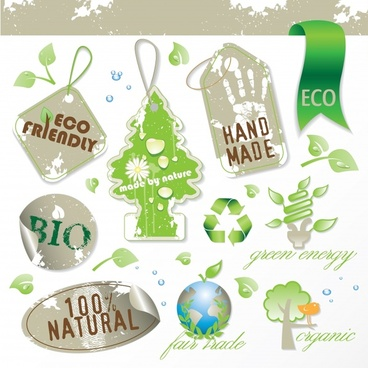 ecology tags templates geometric tree globe ribbon shapes decor