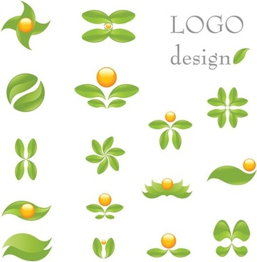 green theme logo template vector