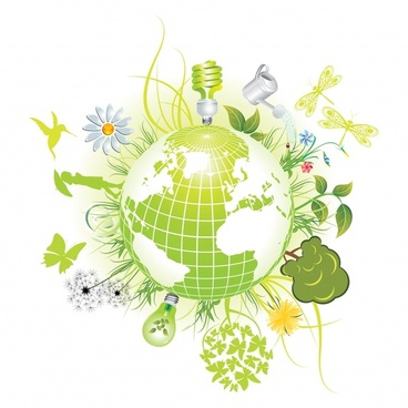 ecological background globe lightbulb nature icons green design