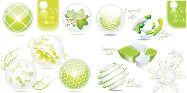 green threedimensional pattern vector