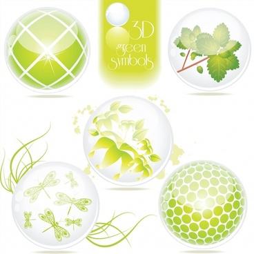 ecology design elements 3d green symbols