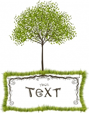 ecology banner classical tree grass text box sketch