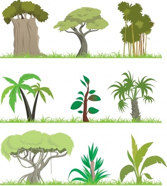 tree icons collection colored cartoon design