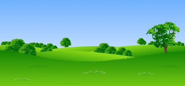 landscape background green meadow decor 3d cartoon design