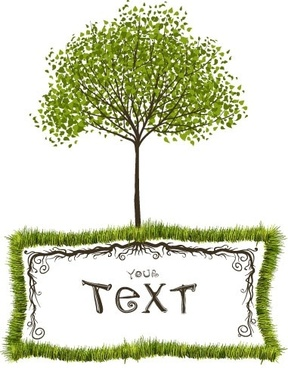 green trees vector text box
