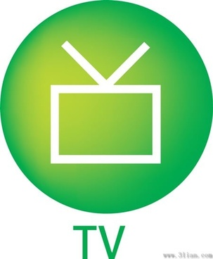 green tv icon vector