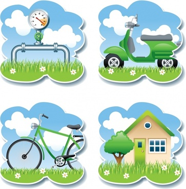 sticker templates gauge bicycle scooter house icons