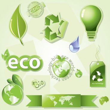eco design elements green symbols decor