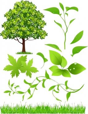 ecological design elements green leaf tree grass sketch