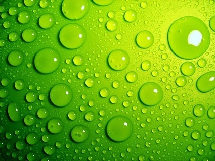 green water drops background picture