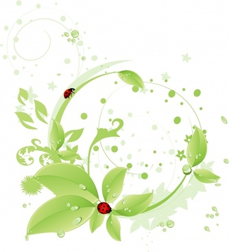 nature background green leaf ladybug droplet icons decor