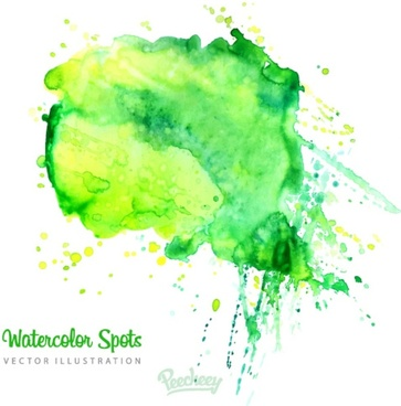 green watercolor splat background
