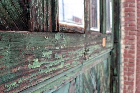 green weather wood window frame
