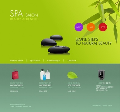 spa webpage template green decor beauty elements icons