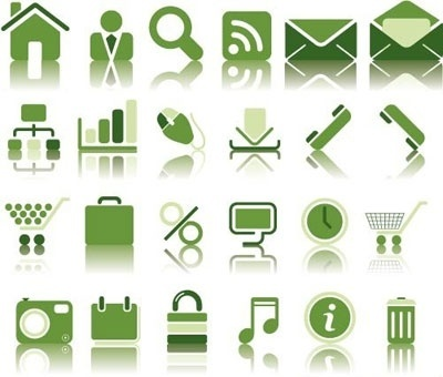 Green Web Icon Set