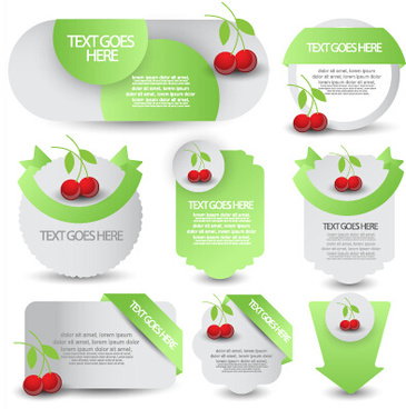 green web labels and fruit vector