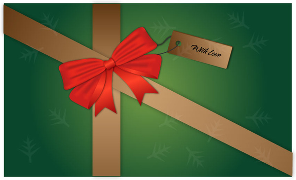 green wrapping red bow