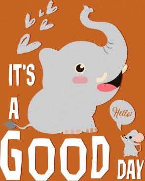greeting banner cute elephant mouse icons texts decor