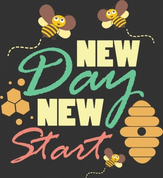 greeting banner stylized honeybee icons texts decoration