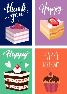 greeting card templates cream cakes icon decor