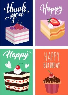 greeting card templates cream cakes icon decor