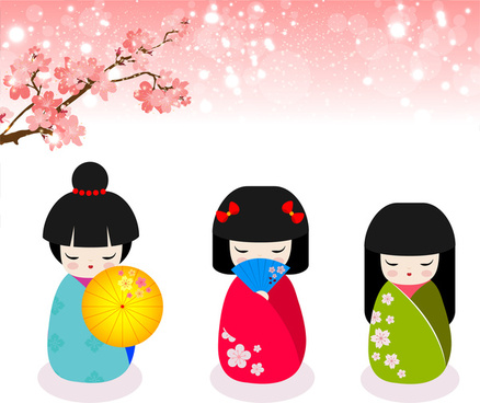 greeting card vector illustration with kokeshi dolls