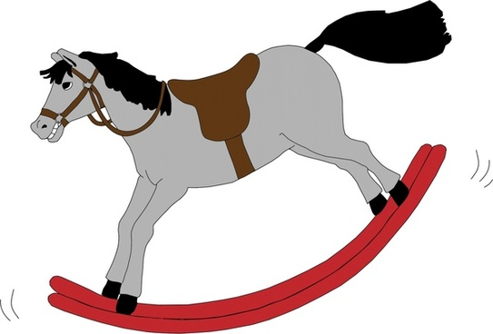 grey rocking horse realistic vector illustration