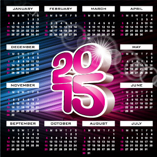 grid calendar15 with abstract background vector