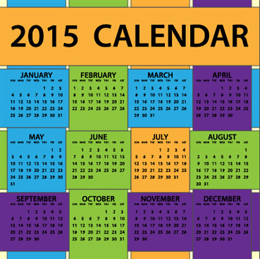 grid colored calendar15 vector