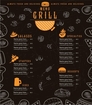 grill menu design with cuisines on dark background
