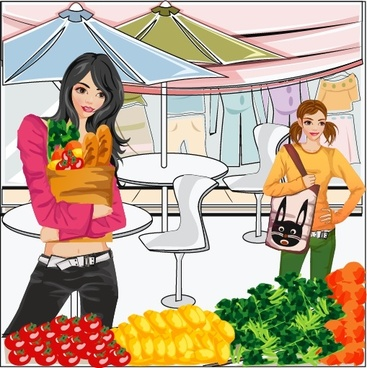 lifestyle background shopping woman vegetable icons cartoon sketch