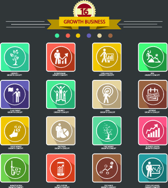 growth business shadow icons vector