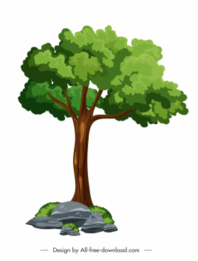 growth tree icon colorful sketch