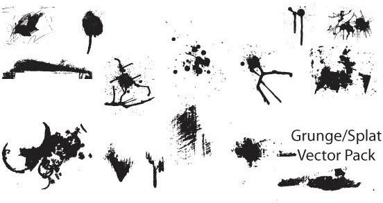 Grunge and splatter vector pack