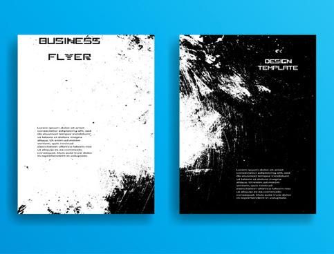 grunge black business flyer design template
