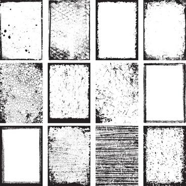 grunge black frame vector set