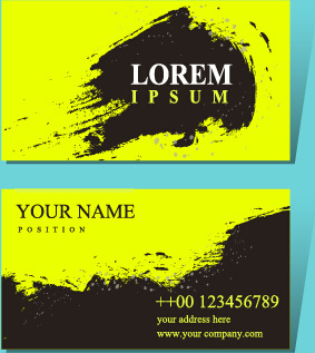 grunge black with green business card vector
