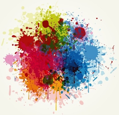 Grunge Colorful Splashing Vector Illustration