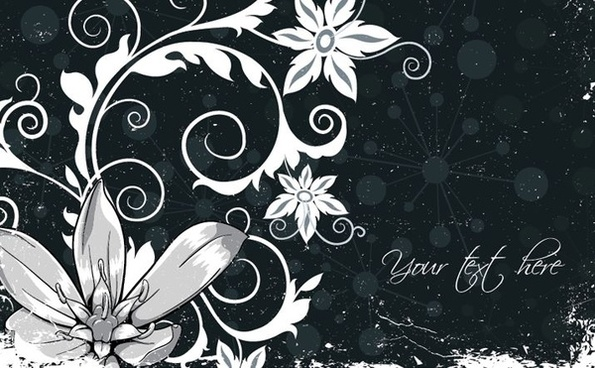 floral background black white ornament retro design