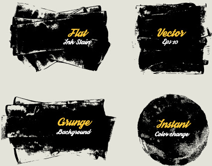 grunge ink shapes background vector