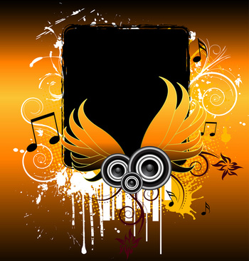 grunge music wings background vector